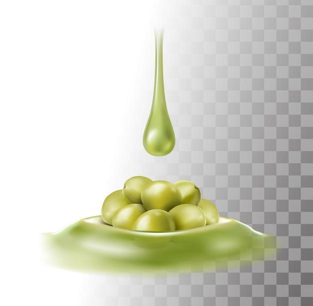 Olijfolie druppels op groene olijven