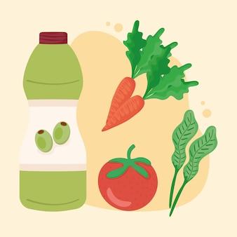 Olijfolie en groenten