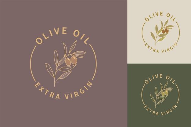 Olijfolie extra vierge logo's, etiketten set. geïsoleerde olijftak voor elegant sjabloonontwerp voor olijfolieverpakkingen. natuurlijke en biologische olijvenboerderij. vector illustratie.
