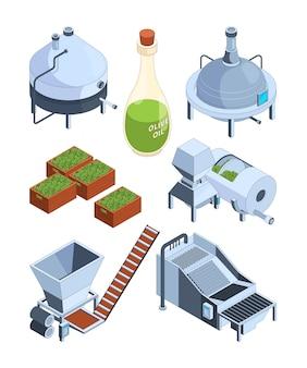 Olijfolie-extractie, griekse balck en groene olijfolieproductie industrie boerderij voedselpers productie isometrische pictogrammen