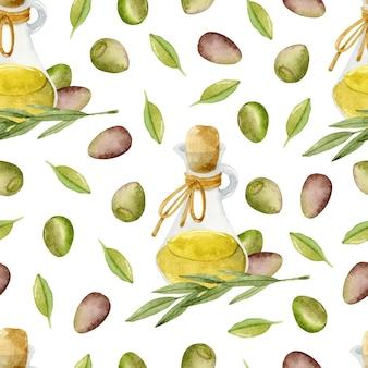 Olijfolie fles met olijven aquarel naadloze patroon op witte achtergrond