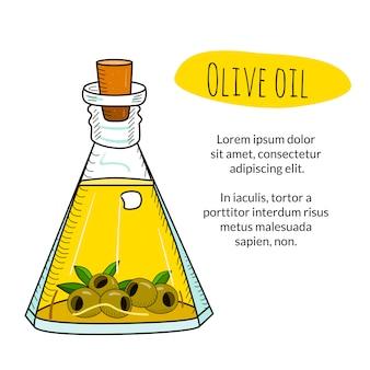 Olijfolie fles met voorbeeldtitel en tekstsjabloon