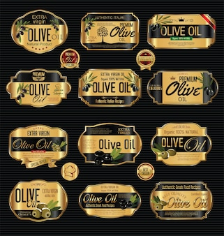 Olijfolie gouden etiketten
