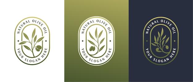 Olijfolie label 3 logo badge ontwerp