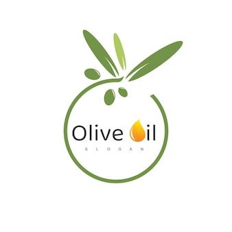 Olijfolie-logo met druppelsymbool
