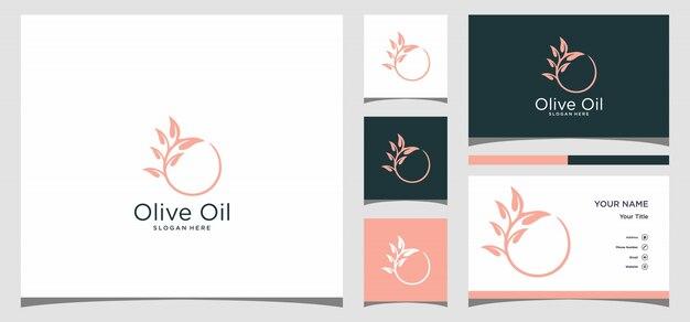 Olijfolie logo met sjabloon voor visitekaartjes