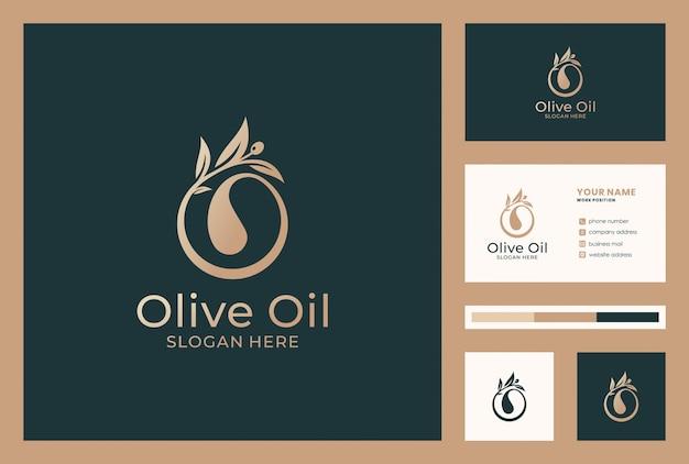 Olijfolie logo met visitekaartje ontwerp