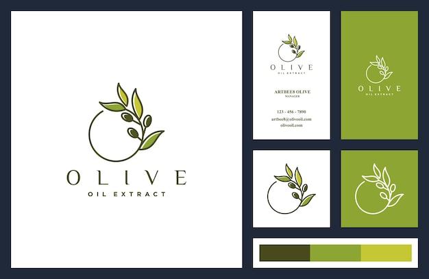 Olijfolie logo ontwerp en visitekaartjes sjabloon