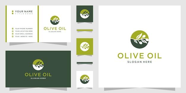 Olijfolie logo ontwerp met sjabloon voor visitekaartjes
