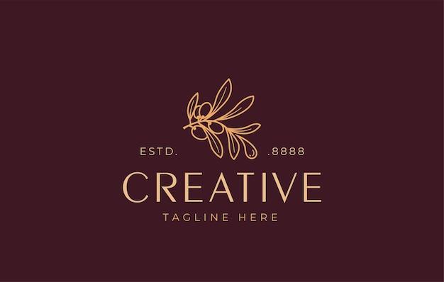 Olijfolie logo ontwerpsjabloon vector van een esthetische tak van een olijfboom die een druppel olie vrijgeeft