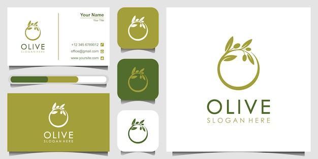 Olijfolie logo sjabloon en visitekaartje