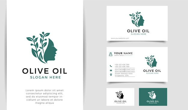 Olijfolie met logo voor vrouwensilhouet en visitekaartje