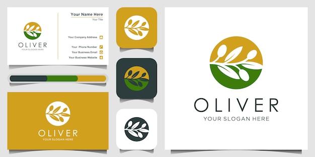 Olijfolie met negatieve ruimte logo ontwerpconcept. logo ontwerp en visitekaartje