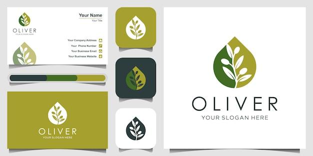 Olijfolie of druppel met negatieve ruimte logo ontwerpconcept. logo ontwerp en visitekaartje