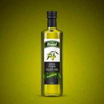Olijfolie pakketontwerp geïsoleerd olijfgroene achtergrond 3d illustratie