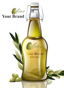 Olijfolie. realistisch flessenproduct. etiketontwerp-verpakkingen