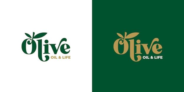 Olijfolie typografie logo ontwerp