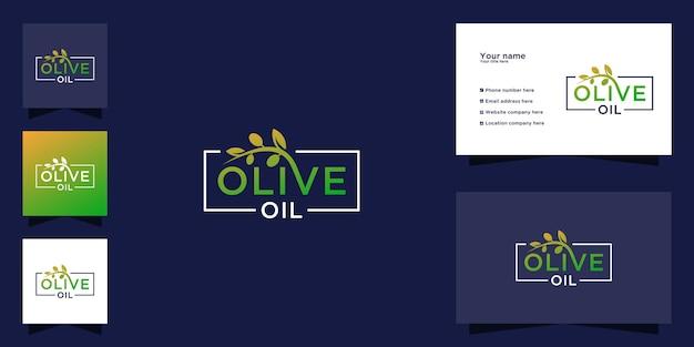 Olijfolie typografie logo sjabloon