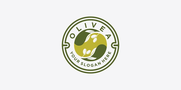 Olijfolielogo met moderne embleemlijnkunststijl met gecombineerd blad, water, olijftak en bladsteen premium vector. deel 1