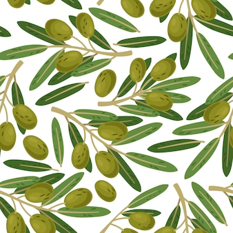 Olive branch naadloze patroon. vector griekse olijven takken textuur