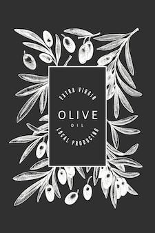 Olive branch sjabloon. hand getekend voedsel illustratie op schoolbord. gegraveerde stijl mediterrane plant. retro botanisch beeld.