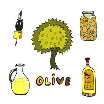 Olive doodle pictogrammen instellen met boom en olie fles geïsoleerd. hand getrokken schets vectorinzameling.