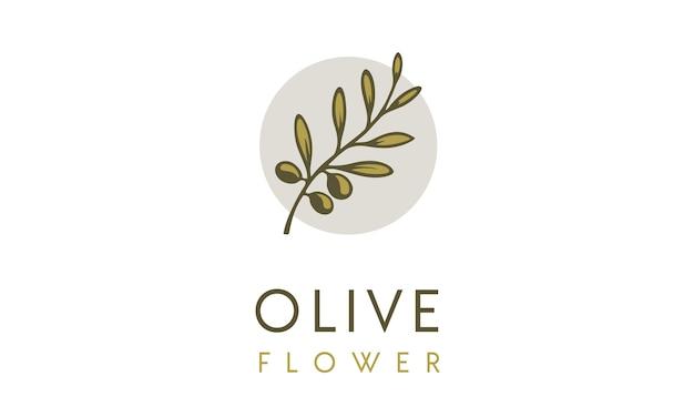 Olive flower logo ontwerp inspiratie