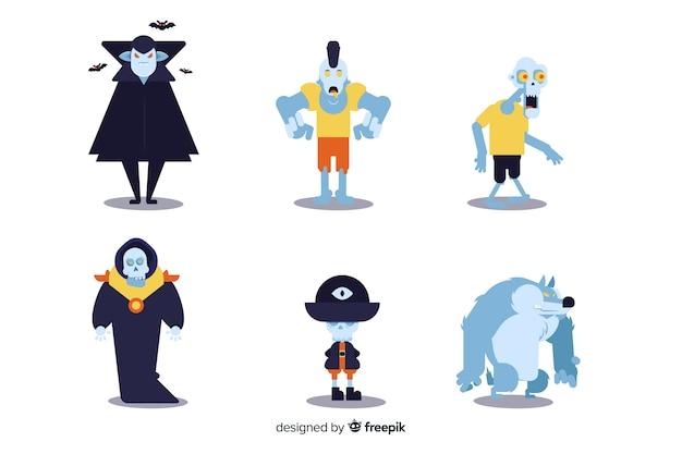 Ollection van halloween-karakter op vlak ontwerp