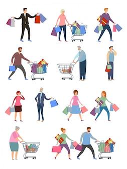 Сollection van mensen die boodschappentassen met aankopen dragen.