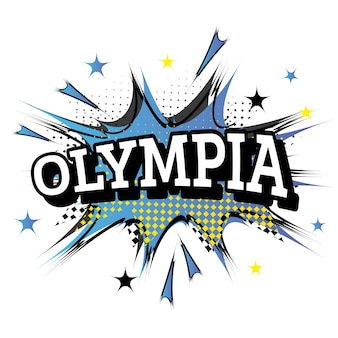 Olympia komische tekst in pop-artstijl. vectorillustratie.