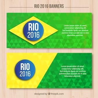 Olympische banners met brazilië kleuren