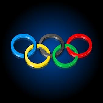 Olympische ringen op zwart