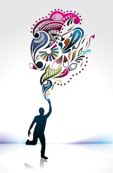 Olympische sjabloon, silhouet van jonge man loper met fakkel, vectorillustratie