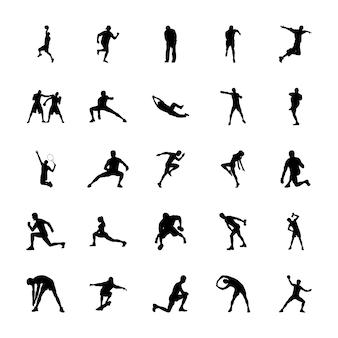 Olympische spelen silhouetten iconen pack
