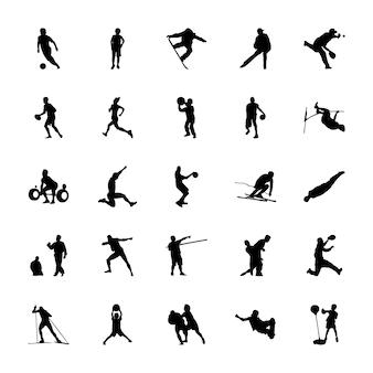 Olympische spelen silhouetten vectoren pack
