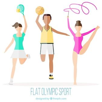 Olympische sporten in plat design