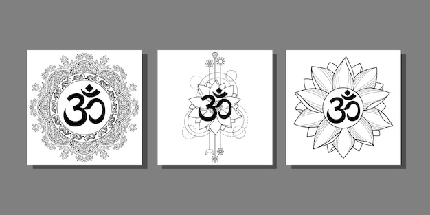 Om prints set met lotus en mandala