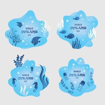 Om world ocean day te verwelkomen door het platte ontwerp van pictogrammen