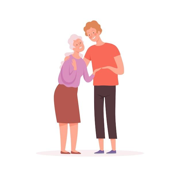 Oma en kleinzoon. oudere karakter, oude vrouw en jongen, maatschappelijk werker of relatieve vectorillustratie. oma en kind, geluksrelatie