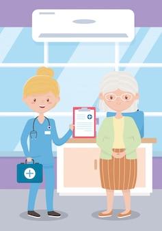 Oma en verpleegster met kit eerste hulp medisch rapport, artsen en ouderen