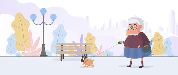 Oma loopt in het park met een kleine hond. vlakke stijl vectorillustratie.