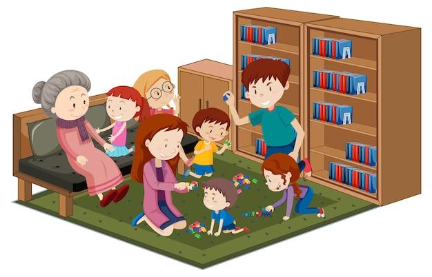 Oma met kleinkinderen in de bibliotheek die op witte achtergrond wordt geïsoleerd