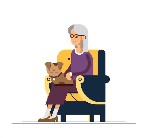 Oma zit in een gezellige stoel en houd de puppy op zijn knieën. illustratie van een