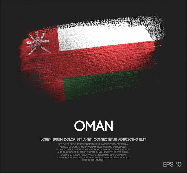 Oman-vlag gemaakt van glitter sparkle brush paint