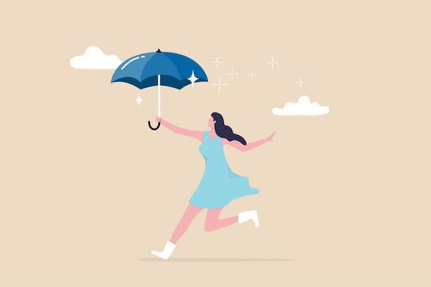 Omarm geluk en positief denken, bescherming tegen depressie of angst, vrouwenwelzijn en levensstijlconcept, schattige jonge volwassen gelukkige dame met paraplu die danst in de regenende wolk. Premium Vector