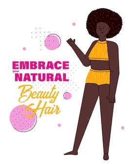 Omarm je natuurlijke schoonheid en haar - zwarte vrouw met afro in zwembroek