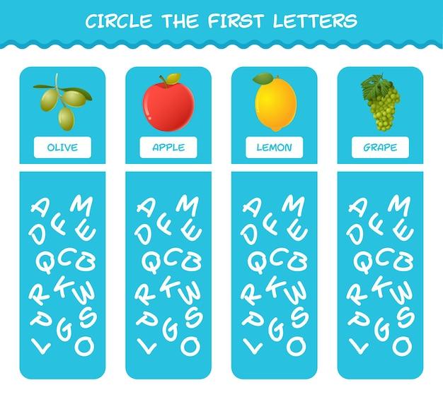 Omcirkel de eerste letters van cartoonvruchten. bijpassende game. educatief spel voor kleuters en kleuters