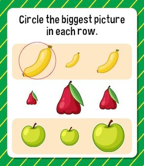 Omcirkel de grootste afbeelding in elke rij werkblad voor kinderen