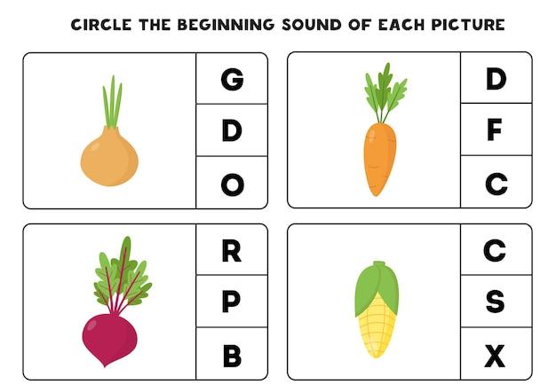 Omcirkel het begingeluid van elke afbeelding. educatief spel voor kinderen.