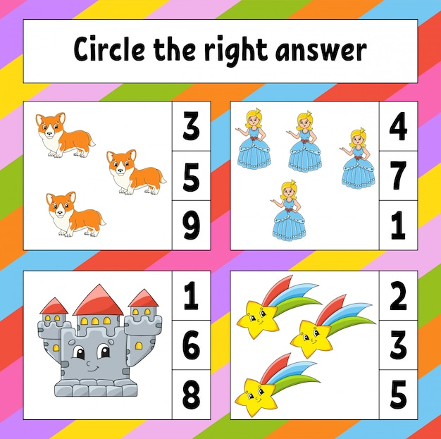 Omcirkel het juiste antwoord. onderwijs ontwikkelen werkblad. activiteitenpagina met afbeeldingen.